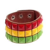 Pulseiras Reggae Do Punk De Couro Unisex Jamaica Bracelete