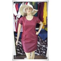 Vestido Sarja Acetinado Plus Size - Frete Grátis!