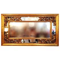 Espelho Estilo Antigo Moldura Em Madeira Folheado A Ouro
