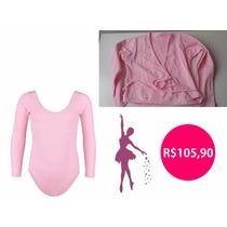 Roupa De Ballet Infantil - Kit Collant Manga Longa E Casaco