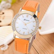 Relógio Feminino Strass Dourado Laranja Importado Barato Gen
