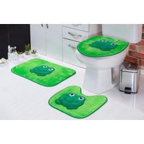 Jogo Para Banheiro Sapo Em Pelúcia
