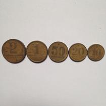 Série Moedas 10 20 E 50 Centavos 1 E 2 Cruzeiros Ano 1945