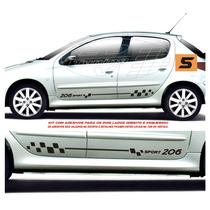 Kit Adesivos Acessórios Faixas Laterais Peugeot 206 E Sw 4 P
