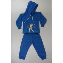 Conjunto Moletom Masculino Azul Com Capuz Flanelado Tam G