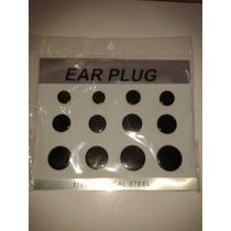Ear Plug Alargador Fechado 12 Peças Preto Branco E Transpare