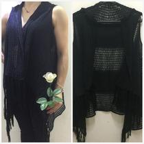 Kimono Feminino De Tricot Lã Blusa Cardigan Feminina Franja