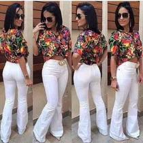 Calça Flare Feminina Jeans Com Elastano-branca