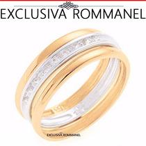 Rommanel Anel Aparador Aliança 9 Zirconias Folhe Ouro 511122