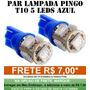Par Pingo T10 5 Led Azul Tuning Meia Luz Placa - Anx Leds
