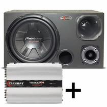 Caixa Trio Pioneer 400w Completa + Módulo Taramps Ts800 X4