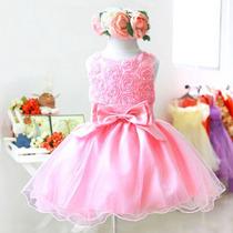 Vestido Infantil Festa Criança Princesa Laço - Frete Grátis