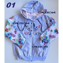 Blusa Moletom Adidas Florida Floral Feminino Com Ziper
