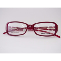 Armação De Óculos Pierre Cardin Vinho Cristal Swarovski