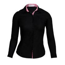 Camisa Social Feminina Slim Com Detalhes Flores