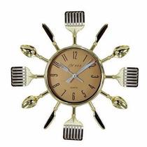 Relógio De Parede Para Cozinha Formato De Talheres Dourado