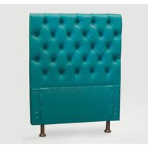 Cabeceira Solteiro Courino Azul Turquesa P/cama Box 0,90