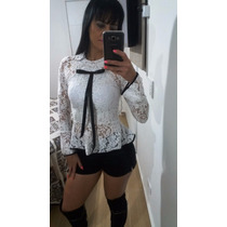 Blusa Camisa Feminina Renda Manga Longa Branco