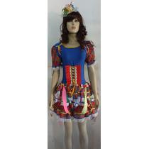 Vestido Caipira Junino Azul Royal Ad