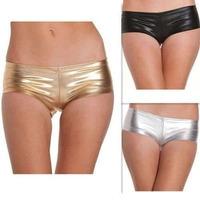 Micro Shorts Vinil Dourado Prata Preto Calcinha P / M Funk