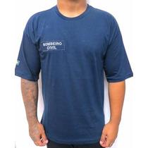 Camiseta Azul Bombeiro Civil Modelo Novo
