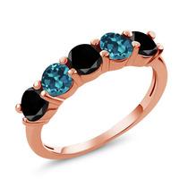 1.06 Ct Black Diamond Anel De Ouro Rosa