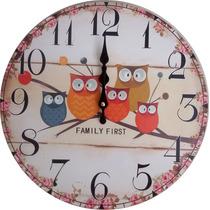 Relógio De Parede Para Decorar Family Corujas
