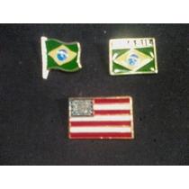 Bottons Brasil / Estados Unidos * 3 Unidades * Frete R$ 6,00