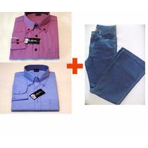 Calça Jeans Masculina + 2 Camisa Manga Longa 113 - Promoção