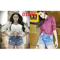 Short Jeans Feminino Hippechic Cos Alto Bordado