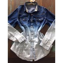 Camisa Jeans Feminina Degradê Pronta Entrega!!!