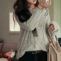 No Brasil! Maxi Pullover Tricô Inverno Sweater Vestido Lã