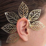 Ear Cuff Dourado Folhas Gigantes