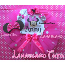 Fantasia Tutu Minnie Rosa Completa Personalizada