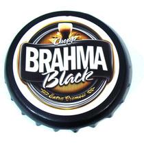 Quadro Tampinha Cerveja Decorativo Redondo 29cm Brahma Black