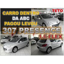 Peugeot 307 Presence Pack Com Teto Solar E Couro Ano 2009