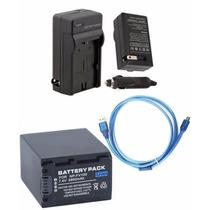 Kit Bateria Np-fv100 + Carregador + Cabo Usb P Sony Dcr-sx85