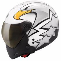 Capacete Peels F21 Eagle Branco Duas Viseiras - Fumê