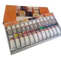 Caixa De Tinta Oleo Com 12 Cores Bisnaga Pintura Tela