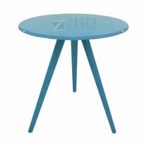 Mesa Decorativa Laqueada Madeira Mdf Tripé Pé Palito Azul