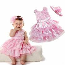 Vestido Festa Bebê Rosette Importado