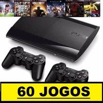 Ps3 Superslim 500 Gb+55 Jogos Originais+2 Controles+ Hdmi