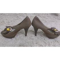 Sapato Lindaluz Peep Toe Com Laço E Pedra Dourada Lindo Glam