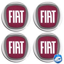 Kit De Emblemas Resinado Fiat Calota Ou Roda C/ 4 Peças 55mm