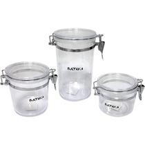 Conjunto 3 Potes Herméticos Acrílico Transparente Mantimento