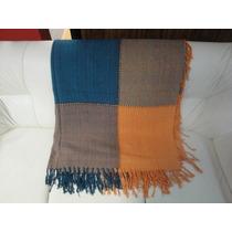 Manta Azul Cinza Laranja Lençol Para Sofa Cama 2,30m X 1,50m