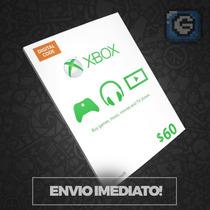 Microsoft Gift Card Cartão Xbox $60 Dólares -preço Imbativel