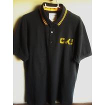 Camisa Polo Calvin Klein Tm Gg Importada Cinza Com Amarelo