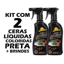 Kit 2 Cera Líquida Colorida Preta Autoshine Limpa E Encera