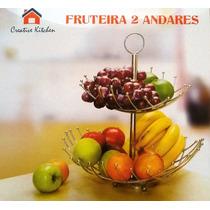 Fruteira De Mesa C/ Dois Andares Aço Inox